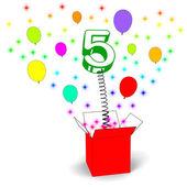 Number Five Surprise Box Means Surprise Party Or Festivity — Stock Photo
