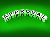 Approval Blocks Show Validation Acceptance and Approved — Stock Photo