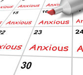Anxious Calendar Shows Worried Fearful And Concerned — Stock Photo