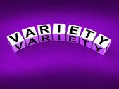 Variety Blocks Mean Varieties Assortments and Diversity — Stock Photo