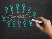 Join Forces On Blackboard Shows Armed Forces And Reliability — Stock Photo