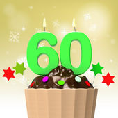 Sixty Candle On Cupcake Shows Family Reunion Or Celebration — Stock Photo