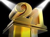 Golden Twenty One On Pedestal Means Entertainment Awards Or Priz — Stock Photo