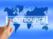 Outsource Map Means Worldwide Subcontracting or Outsourcing — Zdjęcie stockowe