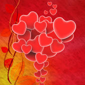 Bunch Of Hearts Means Sweet Hearts Or Beautiful Image — Stock Photo