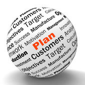 Plan Sphere Definition Means Planning Or Objective Managing — Stock Photo