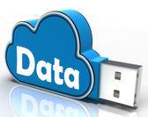 Data Cloud Pen drive Shows Digital Files And Dataflow — Stock Photo
