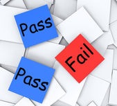 Pass Fail Post-It Notes Mean Satisfactory Or Declined — Stock Photo