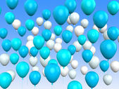 Floating Light Blue And White Balloons Mean Argentinean Flag Or — Stock Photo