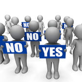 Characters Holding No Yes Signs Show Indecision Or Confusion — Stock Photo