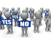 Characters Holding Yes No Signs Mean Uncertain Decisions — Stock Photo