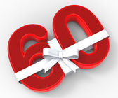 Number Sixty With Ribbon Means Wishing Happy Birthday Or Congrat — Stock Photo