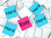 Easy Hard Post-It Notes Mean Effortless Or Challenging — Stock Photo