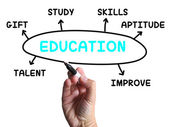 Education Diagram Shows Skills Study And Learning — Stock Photo