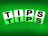 Tips Blocks Mean Hints Suggestions and Advice — Stock Photo