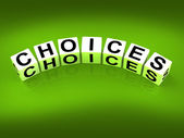 Choices Blocks Show Uncertainty Alternatives and Opportunities — Stock Photo