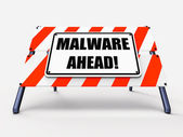 Malware Ahead Refers to Malicious Danger for Computer Future — Stock Photo