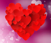 Heart Made With Hearts Means Romanticism Valentines And Love — Stock Photo