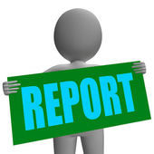 Report Sign Character Shows Corporate Financial Report — Stock Photo