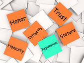 Reputation Post-It Note Means Integrity Honesty And Credibility — Stock Photo