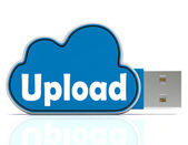 Upload Cloud Pen drive Means Website Uploading And Data Transfer — Stock Photo