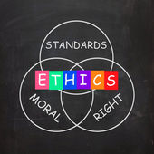 Ethics Standards Moral and Right Words Show Values — Stock Photo