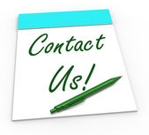 Contact Us! Notebook Means Online Support Or Chat Helpdesk — Stock Photo