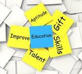 Education Post-It Note Shows Talent Skills And Improving — Stock Photo