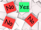 Yes No Post-It Notes Mean Positive Or Negative Response — Stock Photo
