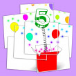 Number Five Surprise Box Displays Surprise Party Or Festivity — Stock Photo #47268401