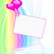 Heart Balloons On Note Displays Valentines Card Or Dedication — Stock Photo #47268441