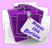 Happy 18th Birthday Gift Displays Celebrating Eighteen Years — Stock Photo