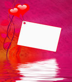 Heart Balloons On Note Displays Love Message Or Letter — Stock Photo