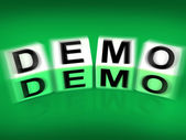 Demo Blocks Displays Demonstration Test or Try-out a Version — Stock Photo