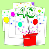 Number Forty Surprise Box Displays Unexpected Celebration Or Par — Stock Photo
