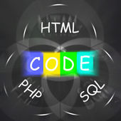Words Displays Code HTML PHP and SQL — Stock Photo