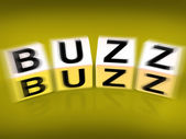 Buzz Blocks Displays Excitement Attention and Public visibility — Stock Photo