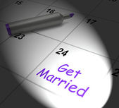 Get Married Calendar Displays Wedding Day And Vows — Stock Photo