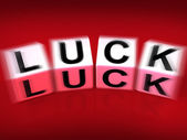Luck Blocks Displays Fortune Destiny or Luckiness — Stock Photo