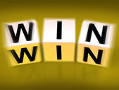 Win Blocks Displays Success Triumphant and Winning — Stock Photo