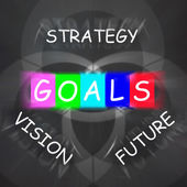 Words Displays Vision Future Strategy and Goals — Stock Photo