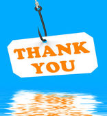 Thank You On Hook Displays Gratefulness And Gratitude — Stock Photo