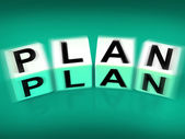 Plan Blocks Displays Targets Strategies and Plans — Stock Photo