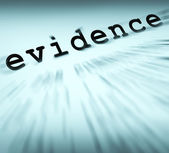 Evidence Definition Displays Crime Scene Investigation And Polic — Stock Photo