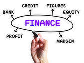 Finance Diagram Displays Credit Equity And Margin — Stock Photo