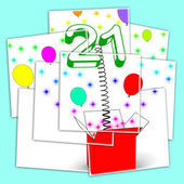 Number Twenty One Surprise Box Displays Birthday Celebration Or  — Foto de Stock