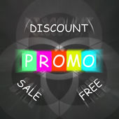 Advertising Words Displays Promo Discount Sale or Free — Stock Photo