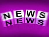 News Blocks Displays Broadcast Announcement and Headlines — Stock Photo