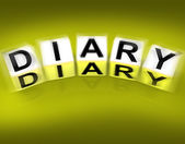 Diary Blocks Displays Journal Blog or Autobiographical Record — Stock Photo