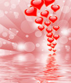 Hearts On Background Displays Valentines Day Or Romanticism — Stock Photo